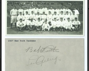 1927 Yankees Team Picture RP, with Ruth Gehrig Signatures, near impossible to find this one