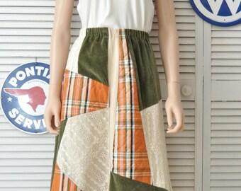 Vintage Womens 90s 80s Maxi Skirt/Chessa Davis/Velveteen Lace & Quilted/Renaissance/Elastic Waist/Costume Boho Gypsy Autumn Patchwork Medium