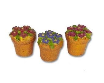 Miniature Garden - Potted Flowers Set of 3 - Miniature Fairy Garden Supplies
