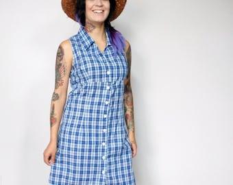 Dress Vintage Dress Blue Plaid Empire Waist Cotton Dress 1990's Sleeveless Frock Day Dress Size Medium