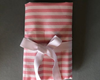 Pink & White Stripe Makeup Brush Pouch