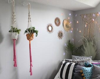Macrame Plant Hanger (Pink + Orange)