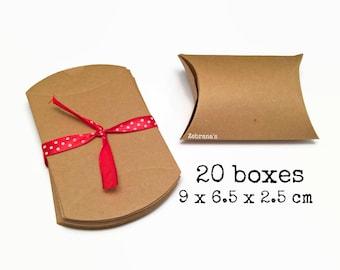 20 kraft pillow boxes 9x6.5x2.5 cm (kraft boxes, wedding favor box, eco friendly box, brown kraft paper, jewelry box, jewelry gift wrapping)