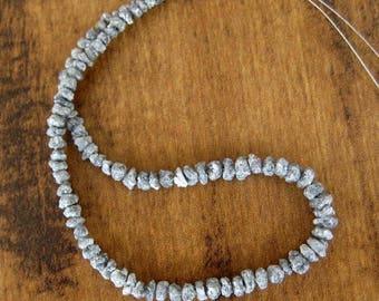 1mm Hole, Sparkling Grey Natural Diamonds, Raw Diamond Beads, Drilled Beads, Uncut Beads, Rough Diamond, 6mm To 8mm Beads, 10pcs - DS4053B