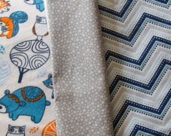 """Made to Order, Flannel Baby Quilt, Handmade Baby Boy Quilt, """"Woodsy Baby"""", Chevron Print"""