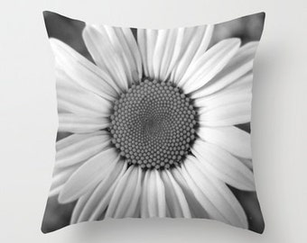 Photo Pillow Cover Decorative Daisy Black and White 16x16