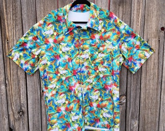 Morning Glory Psychedelic Neural Network Spandex Button Up Party Shirt
