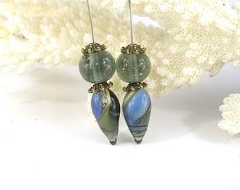 sra artisan lampwork glass headpins set flameworked pattylakinsmith patty Lakinsmith matched pairs blue grey handmade