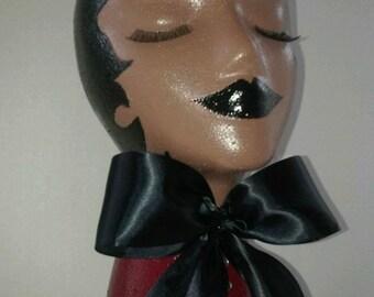 Hand Painted Styrofoam Women's Mannequin Head, Female Mannequin Head, Female Mannequin