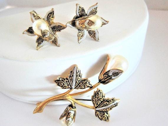 Damascene Brooch Earrings, Pearl Enhanced,  Signed Spain, Gold Tone Pin