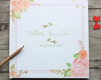 Personalized White and Floral Wedding Guest Book,Custom Natural Style White Wedding Guest Book,Baby Shower,Anniversary Party Guest Book