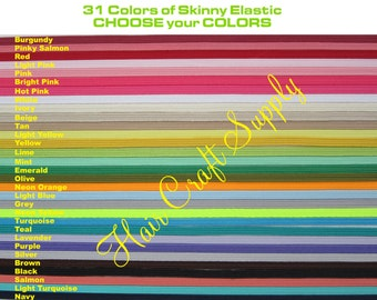 SKINNY ELASTIC - 12 Yards Skinny Elastic by the Yard - Choose from assorted Colors, baby elastic, thin elastic, one eigth, colored elastic
