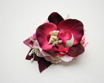 Purple Pink Bridal Orchids Hair Comb Clip, Beach Hawaiian Mermaid Weddings Hair Accessories, Purple Orchid Headpiece, Seashells Comb Clip
