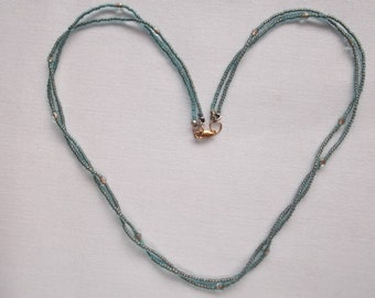 Aqua Blue Vintage Bead Necklace with 14K Gold Filled Lobster Claw Clasp is 22 inch Vintage Necklace