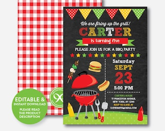 Instant Download, Editable BBQ Birthday Invitation, Barbeque Invitation, bbq invitation, bbq Party Invitation, Picnic, Chalkboard (CKB.398)