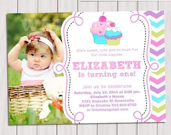 Cupcake Photo Invitation, 1st Birthday Cupcake Photo Invitation, Printable Sweet Cupcake photo Invite,  Photo Printable Birthday Invitation