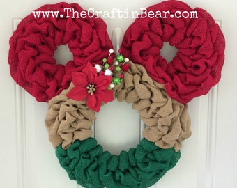 Christmas Minnie Mouse wreath - Burlap wreath - Christmas Minnie - disney - Christmas wreath - Christmas Mickey - Christmas Minnie Decor