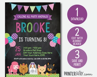 EDIT YOURSELF, Puppy Invitation, Pet adoption party, Puppy Birthday Party, Puppy Adoption, Digital Invitation, Chalkboard, Instant Download