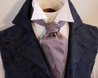 FORMAL Lavender Grey Dupioni SILK Victorian Ascot Tie Cravat