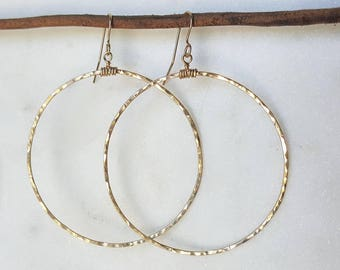 Simple boho hoop earrings / Gold filled / handmade / gift / hoops / textured hoops/ unique / dainty / everyday wear