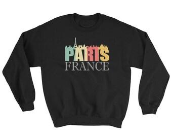 Trendy Retro Paris France Skyline Sweatshirt