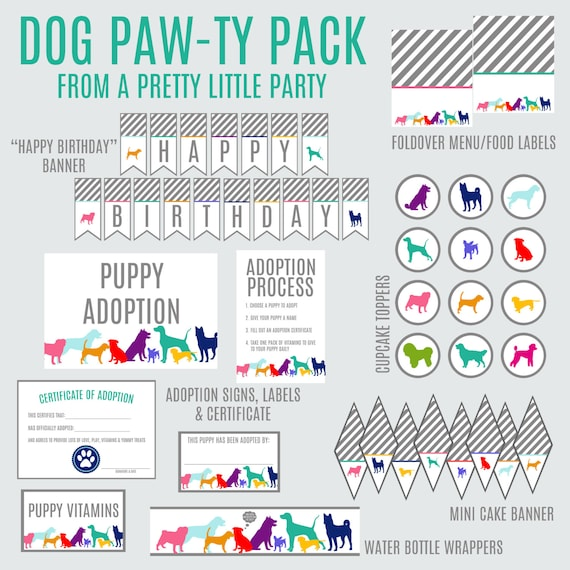 Puppy Dog Paw-ty Pack  - Digital files - Party Supplies - INSTANT DOWNLOAD