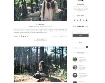 Responsive Premade Blogger Template - Clean Minimalist Design - Simple Fotography Blog - Fashion - Blogspot