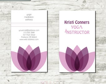 Yoga Business Cards | Lotus, Pink, Purple, Silhouette | Customized Printables