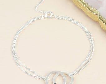 Personalised Sterling Silver Interlocking Circles Bracelet