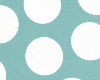 Teal and White Large Polka Dot Patterned Fabric - Half Moon Modern by Moda 1/2 Yard