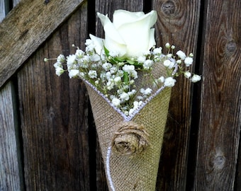 Burlap Flower Cone for Rustic Wedding, Decoration For The Ceremony
