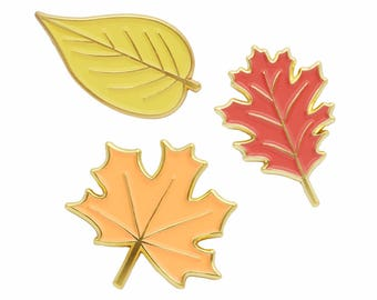 Autumn leaves fall enamel lapel pin set