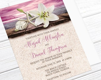 Beach Wedding Invitations - Lily Seashells and Sand, Magenta Pink Beige - Destination Wedding, Tropical Wedding - Printed Beach Invitations