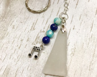 Music note Sea glass keyring , Wedding favour gift, Scottish seaglass gemstone key chain, beach glass, keepsake souvenir keyring, handmade