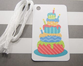 Birthday Cake Tags, Thank You Tags, Party Favor Tags, Gift Tags, Set of 8