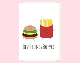 Best Friend Card / Food Card / Funny Friendship Card / Cute Friendship Card / Friend Birthday Card / Funny Birthday Card / Greeting Card