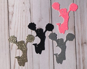 Glitter Cheerleader Die Cut Outs From Card Stock, Party Cut Outs, Birthday Cut Outs, Party Cut Outs, Confetti, any color, Cheer Banquet Deco