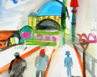 SALE / Istanbul III, Original Watercolor Painting on Paper / Turkey / Boho-Haute Decor / Boho Style / Wall Decor / Fashion.