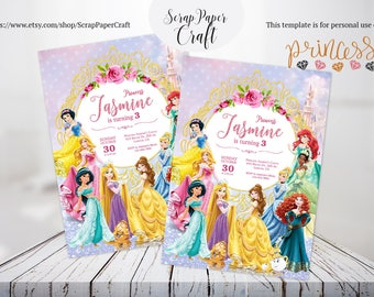 Disney Princess Invitation, Personalized Princess Invitation, All princess Invitation Girl Birthday party Belle