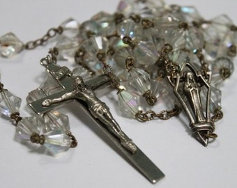 Art Deco Crystal Blessed Mother Rosary