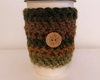 Coffee Cup Sleeve Cozy Take Out Coffee Cup Sleeve Cozy Green Coffee Cup Sleeve Take Out Coffee Cup Cozy Hand Crocheted