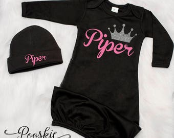Princess Baby Girl Coming Home Outfit, Newborn Girl Gown, Baby Hospital Outfit, Glitter Baby Outfit, Baby Shower Gift for Girl, P24