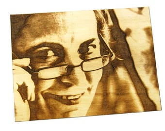 Custom engraved photo in wood and glass