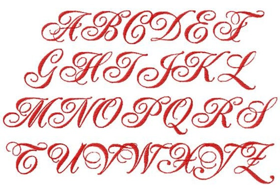 JUMBO Fancy Script Machine Embroidery Font Sizes