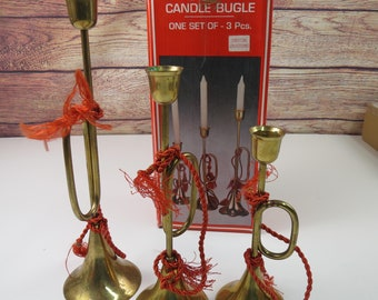 """Vintage Brass Bugle Candle Holders with Red Tassels Original Box 12"""" Set of 3"""