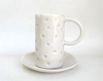 hand built translucent porcelain cup and dish  ...   demitasse