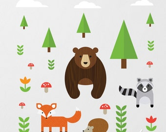 Forest Animals Wall Decal, Bear Wall Decal, Woodland Animals Decal, Fox Wall Decal, Raccoon Wall Decal, Forest Decal, Woodland Decal