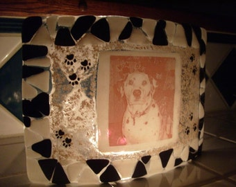 Cremation Gass Art Cremation Photo Memorial Cremation Ashes InFused in Glass Candle Display Free Standing 5x8 Pet