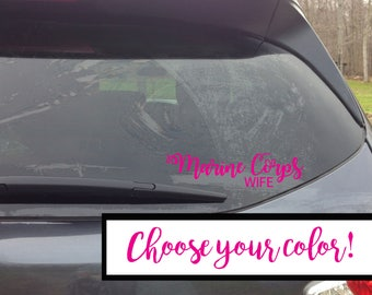 Marine Corps Wife Car Decal, Car Sticker, Military Pride, Marine Corps Sticker, Window Sticker, USMC
