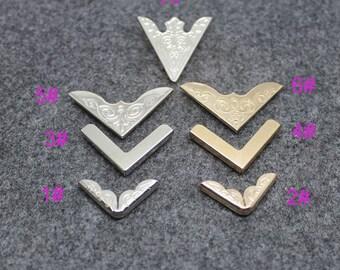 8pcs Vintage  Collar Clip Corner  Western Style Blouse Shirt Metal Wing Tips Pointed,Wooden Case Corner